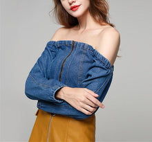 Casual Sexy Long Sleeve Jeans Shirt With A Wide Neck And Bare Shoulders