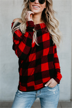 Casual Sexy Slanted Plaid Long Sleeved T-Shirt Blouse