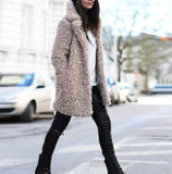 Casual Pure Color   Lamb's Long Sleeve Loose Coat Khaki l