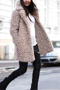 Casual Pure Color   Lamb's Long Sleeve Loose Coat Khaki s