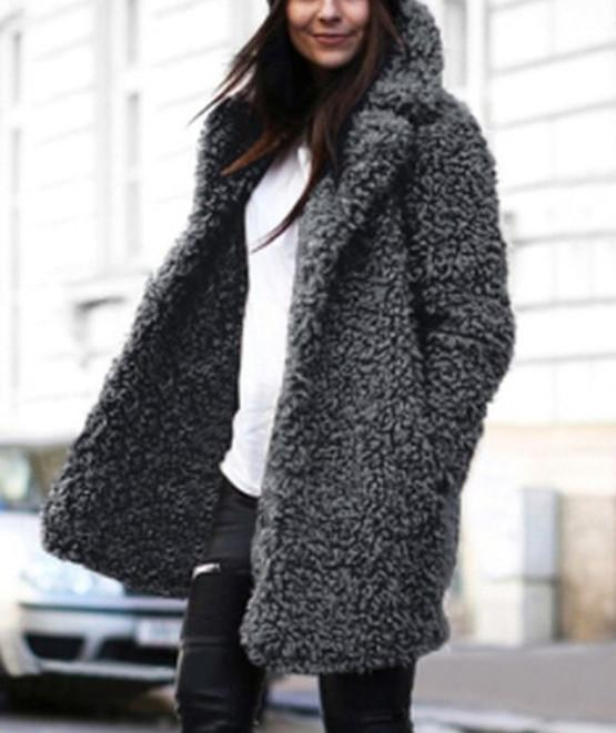 Casual Pure Color   Lamb's Long Sleeve Loose Coat Gray s