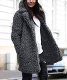 Casual Pure Color   Lamb's Long Sleeve Loose Coat Gray m