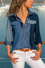 Casual Slim Color Matching Pocket Shirt