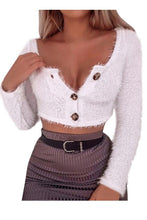 Casual Short Button Sexy Midriff Long Sleeve Knit Top T Shirt Blouse