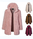 Casual Solid Color   Long Sleeve Warm Plush Hooded Overcoat Pink m