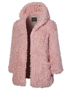 Casual Solid Color   Long Sleeve Warm Plush Hooded Overcoat Pink l