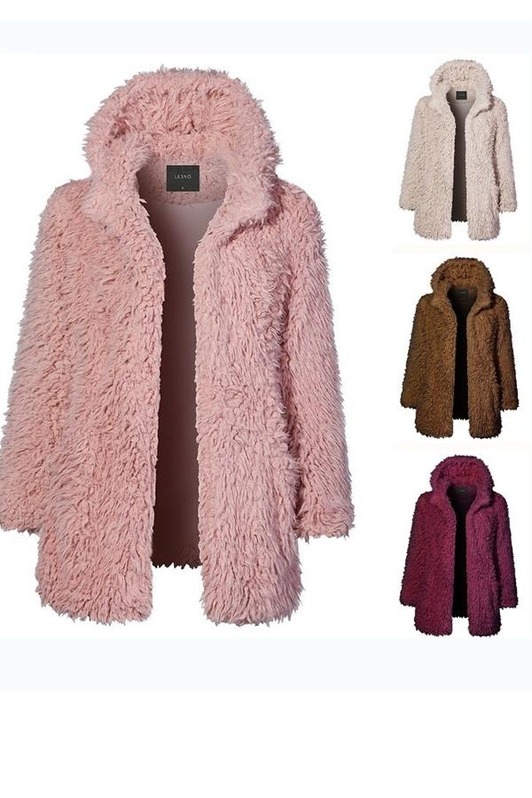 Casual Solid Color   Long Sleeve Warm Plush Hooded Overcoat Pink s