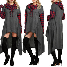 Casual Plaid Collage Long Hooded sweater