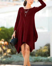 Casual Pure Color Round Neck Long Sleeve Pocket Mini Dress
