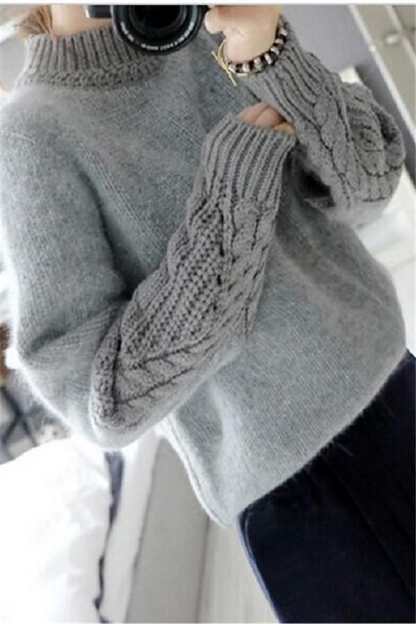 Casual Pure Color   Loose Hemp Sleeve Half Turtleneck Sweater Same As Photo one size