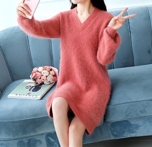Casual Pure Color   Baggy V-Neck Long Knit Sweater