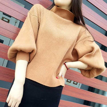 Casual Loose Knit Sweater With High Neck And Lantern Sleeves