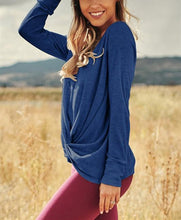 Casual Versatile Long Sleeve Irregular Knit T-shirt