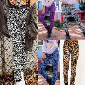 Casual Fashion Leopard   Print Stretch Sports Pants Yellow m