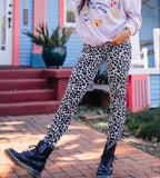 Casual Fashion Leopard   Print Stretch Sports Pants White l