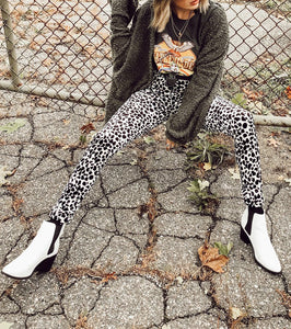 Casual Fashion Leopard   Print Stretch Sports Pants Yellow s
