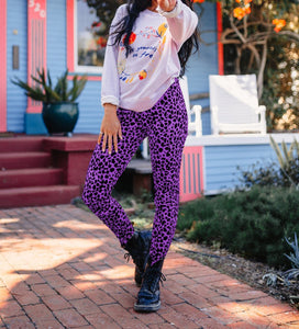 Casual Fashion Leopard   Print Stretch Sports Pants Purple l