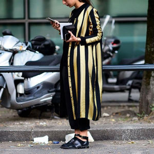 Fall And Winter Fashion Striped Long Coat Same As Photo l