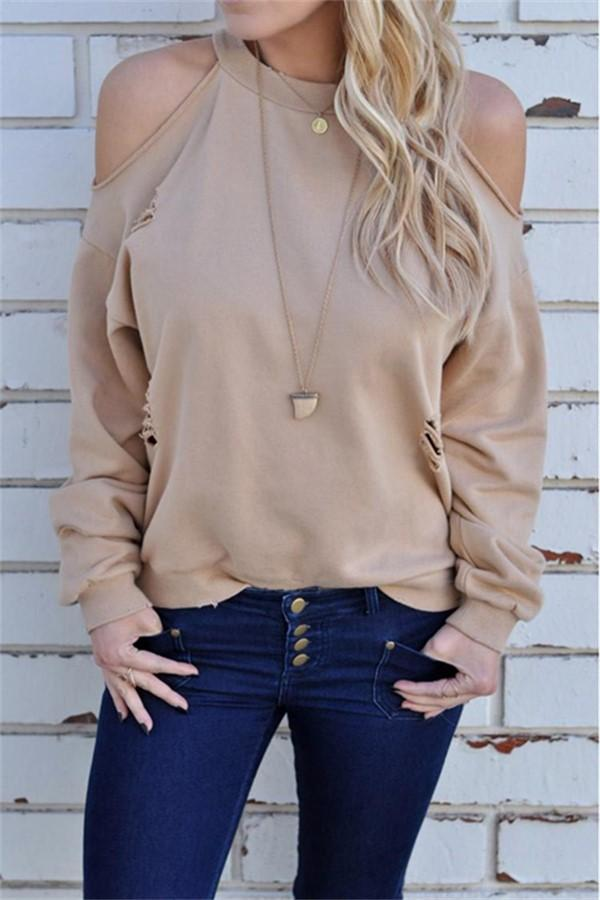 Casual Long Sleeves   Loose Off The Shoulder Hole T-Shirts Fleece Same As Photo s