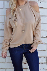 Casual Long Sleeves   Loose Off The Shoulder Hole T-Shirts Fleece Same As Photo l
