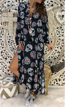 Casual Loose Printed V Neck Maxi Dress