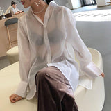 Sexy Fashion Long Sleeve Blouse Blue s