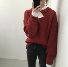 Fashion Pure Color Long Sleeve Round Collar Knitting Sweater