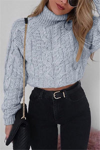 Pure Color Long Sleeve   Turtleneck Sexy Short Sweater Gray s