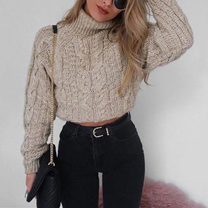Pure Color Long Sleeve   Turtleneck Sexy Short Sweater Black m