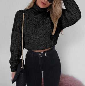 Pure Color Long Sleeve   Turtleneck Sexy Short Sweater Gray xl