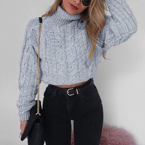 Pure Color Long Sleeve   Turtleneck Sexy Short Sweater Gray m
