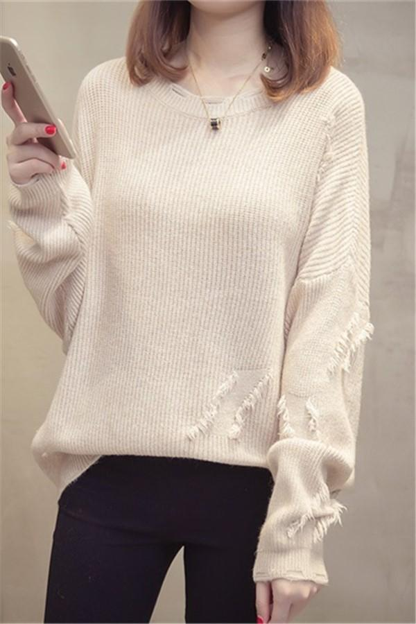 Fashion Pure Color   Long Sleeve  Loose Round Collar Knitting Sweater as_pic Default Title