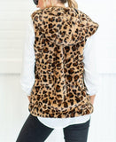Casual Fashion Big   Yards Hooded Pocket Cashmere Leopard Print Vest Leopard Print 2xl