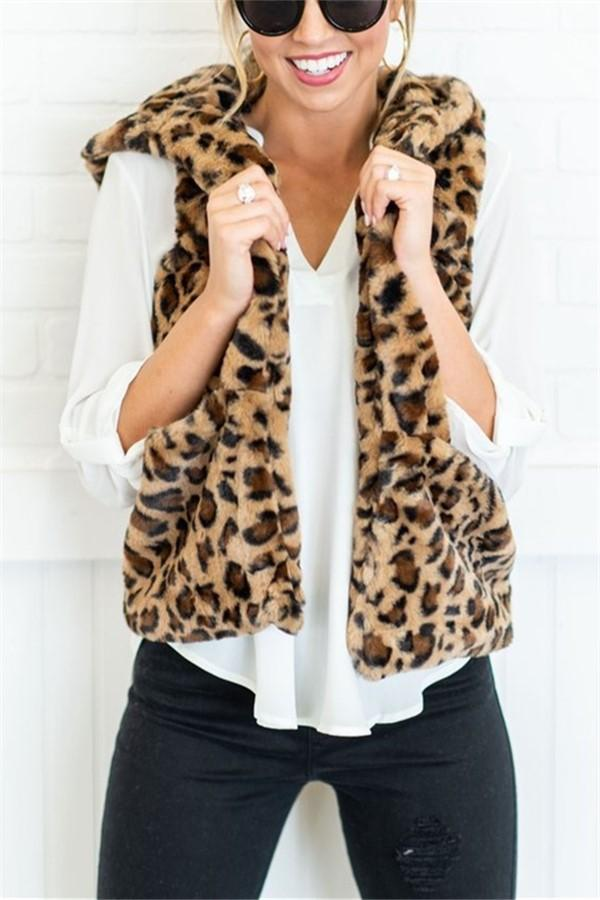 Casual Fashion Big   Yards Hooded Pocket Cashmere Leopard Print Vest Leopard Print m