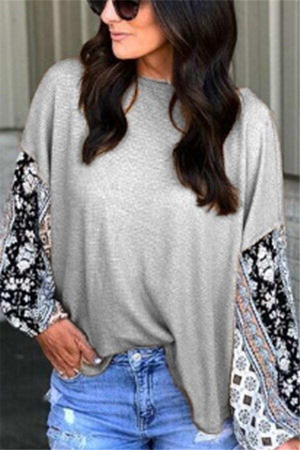 Casual Round Collar   Lace Stitching Long-Sleeved T-Shirt Blouse as_pic Default Title