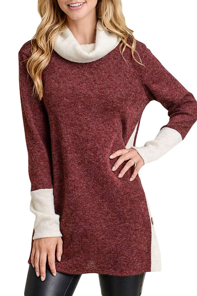 Casual Buttons Vented   Long Turtle Neck Loose Knitted Fleece Blouse Red xl