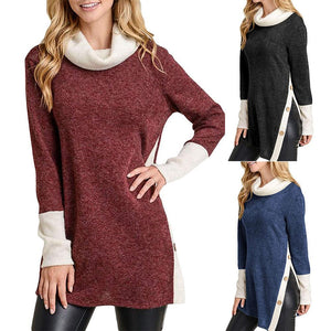 Casual Buttons Vented   Long Turtle Neck Loose Knitted Fleece Blouse Royal Blue s