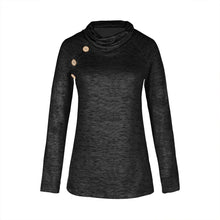 Casual Buttons Vented Long Turtle Neck Loose Knitted Fleece Blouse