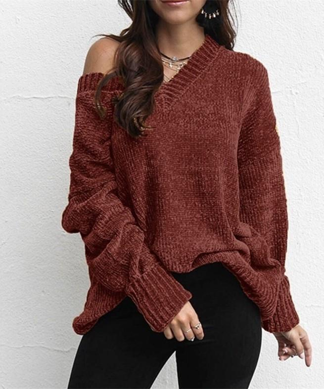 Casual Pure Color   Joker V-Neck Chenille Knitting Sweater Pink l
