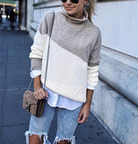 Casual High Collar   Stitching Color Long Sleeve Knited Sweater Gray m