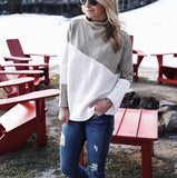 Casual High Collar   Stitching Color Long Sleeve Knited Sweater Gray l