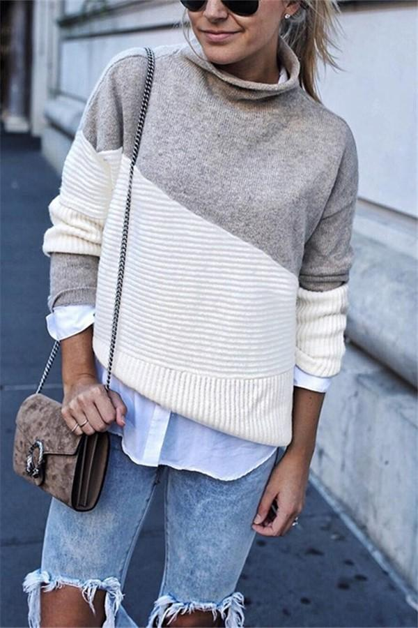 Casual High Collar   Stitching Color Long Sleeve Knited Sweater Gray s