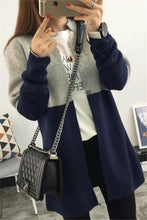 Casual Stitching Color Long Knitting Cardigan Sweater