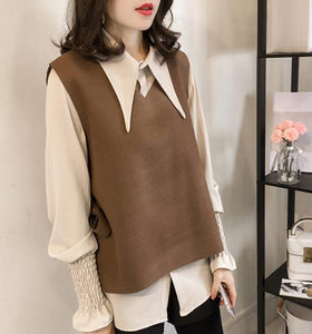 Casual Vest Long   Sleeved Shirt Two Piece Outfit Khaki 3xl