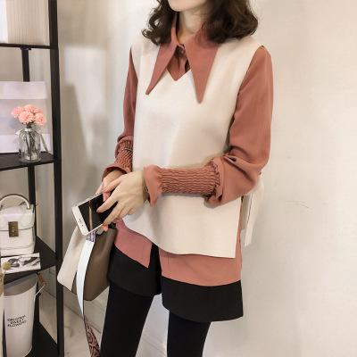 Casual Vest Long   Sleeved Shirt Two Piece Outfit Khaki m