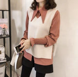 Casual Vest Long   Sleeved Shirt Two Piece Outfit Apricot 3xl