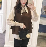 Casual Vest Long   Sleeved Shirt Two Piece Outfit Khaki l