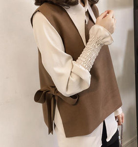 Casual Vest Long   Sleeved Shirt Two Piece Outfit Khaki 2xl