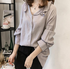 Pure Color The Bat   Sleeve Loose Shirt Blouse Blue xl