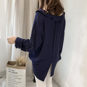 Pure Color The Bat   Sleeve Loose Shirt Blouse Khaki m